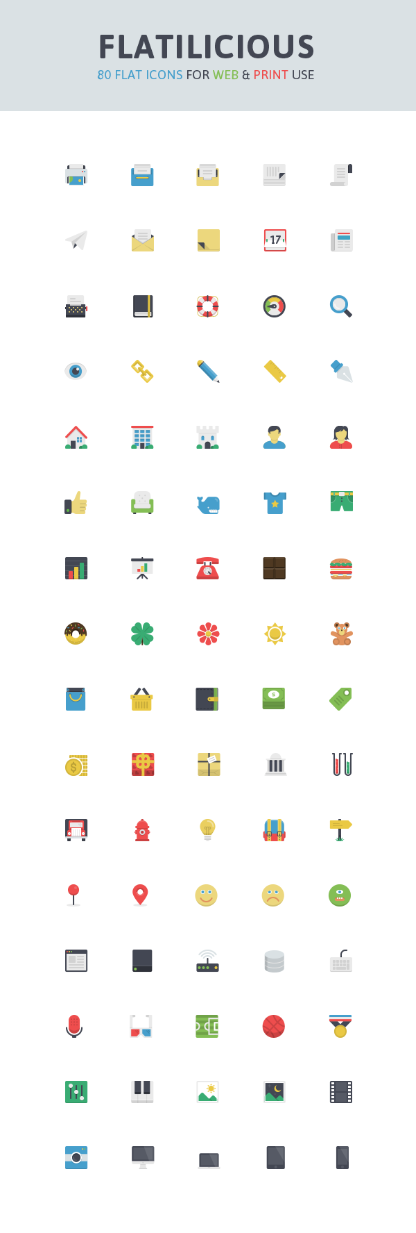 Flat-web-with-print-use-icons-vector