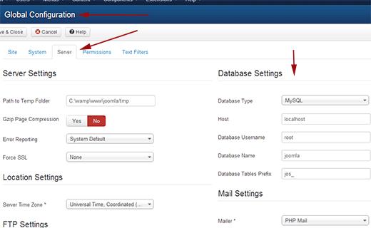 joomla db settings 1 - تغییر سیستم مدیریت محتوای جوملا به وردپرس