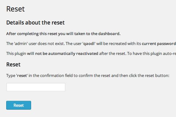 reset - افزونه ریست کردن با WordPress Reset برای وردپرس