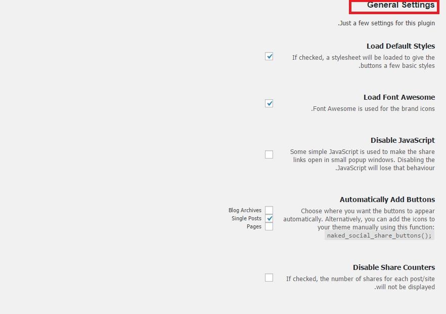 general setting for social - افزونه ساخت آیکون شبکه های اجتماعی برای وردپرس