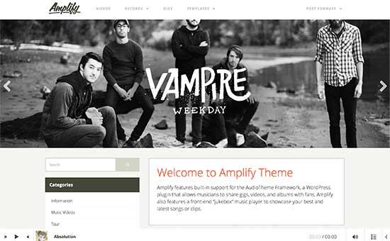 amplify - معرفی 5 تا از بهترین قالب های موزیک 2017 وردپرس
