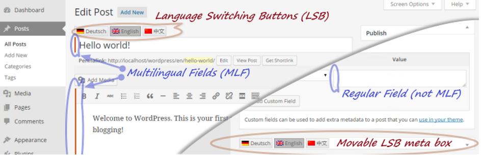 Capture - افزونه ایجاد وب سایتی چند زبانه در وردپرس با  qTranslate X