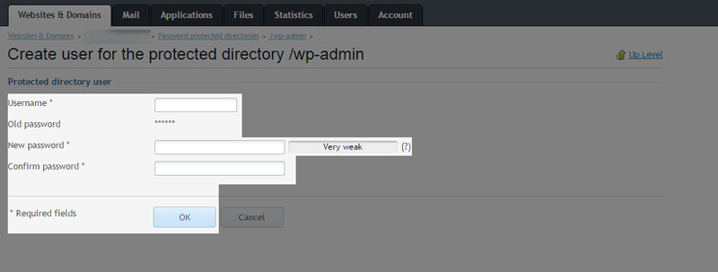 06 plesk - نحوه رمز گذاشتن بر روی پوشه wp-admin