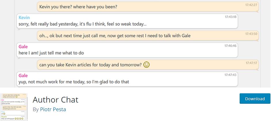 Author Chat - چت آنلاین نویسندگان در پیشخوان وردپرس با افزونه Author Chat