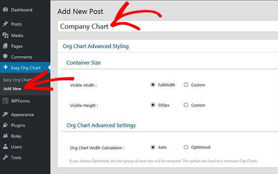 add new chart3 - آموزش ساخت نمودار سازمانی در وردپرس با افزونه Easy Org Chart