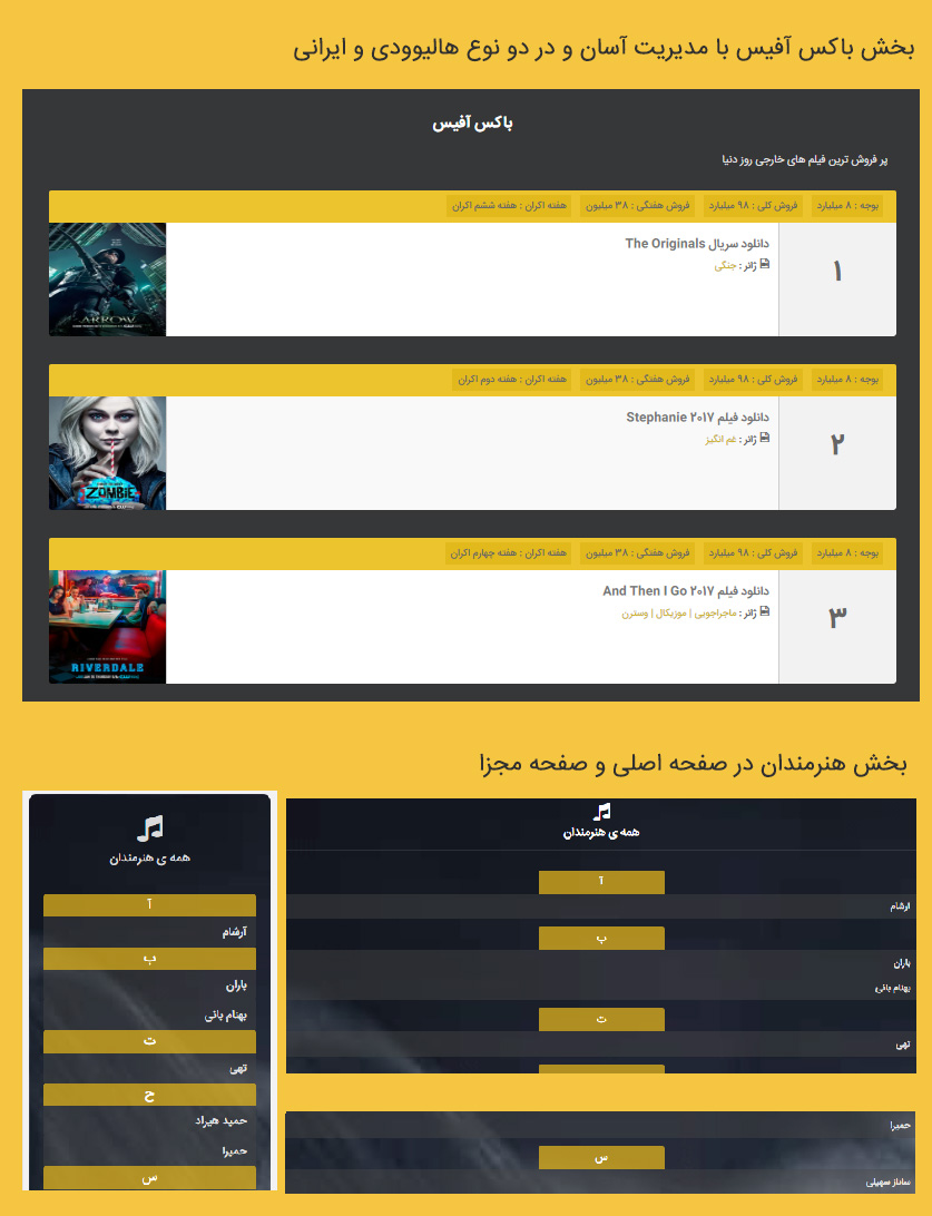 box office artist - فروش قالب موزیک و فیلم وردپرس پارسبان نسخه 2 | قالب حرفه ای وردپرس