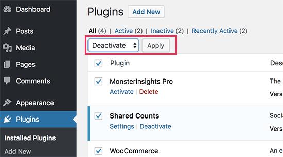 deactivateallplugins2 - چگونه می توان مشکل دکمه Add Media در وردپرس را برطرف کرد؟