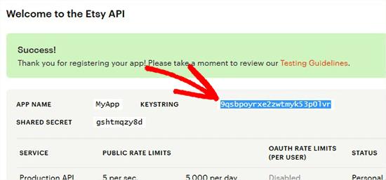 copy etsy api key - اضافه کردن فروشگاه Etsy در وردپرس