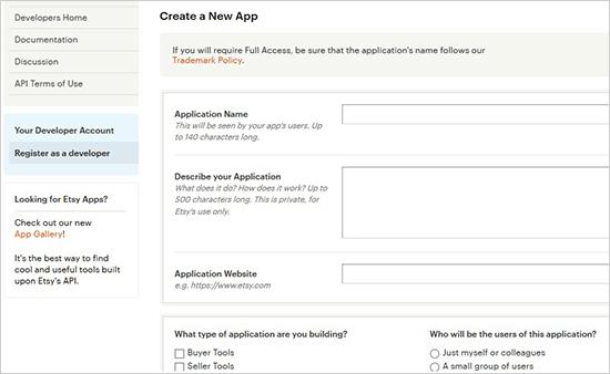 create new etsy app - اضافه کردن فروشگاه Etsy در وردپرس