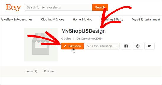 edit shop for section id - اضافه کردن فروشگاه Etsy در وردپرس