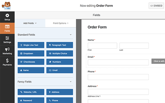 editorderform5 - نحوه راه اندازی پرداخت کارت اعتباری در سایت وردپرس - فعال کردن فرم پرداخت در وردپرس