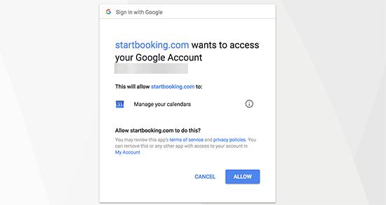 gcalpermission14 - چگونه رزرو آنلاین در وردپرس را با StartBooking بهتر مدیریت کنیم؟