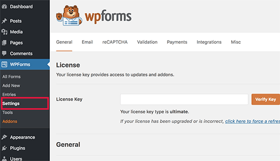 wpforms license1 - نحوه راه اندازی پرداخت کارت اعتباری در سایت وردپرس - فعال کردن فرم پرداخت در وردپرس
