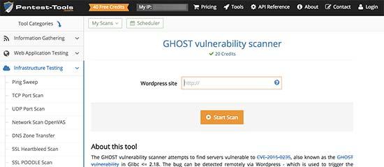 ghostvulnerabilitychecker - معرفی 14 اسکنر امنیتی وردپرس برای شناسایی بدافزار و هکرها - بررسی آنلاین امنیت سایت