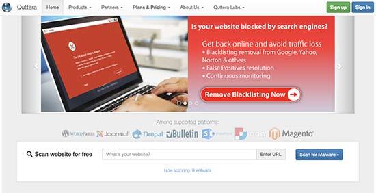 quttera - معرفی 14 اسکنر امنیتی وردپرس برای شناسایی بدافزار و هکرها - بررسی آنلاین امنیت سایت