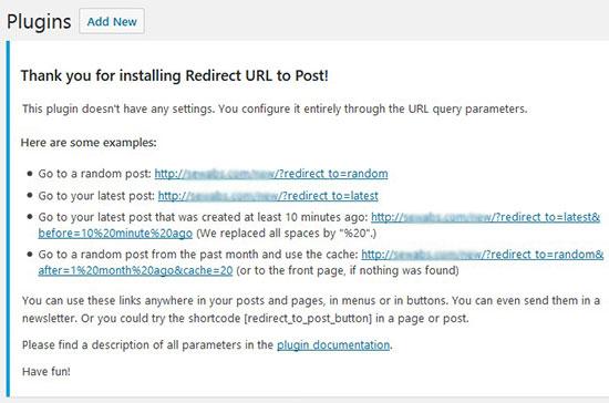 redirecturlparameters - افزونه ریدایرکت 404 به پست تصادفی در وردپرس با افزونه Redirect URL to Post