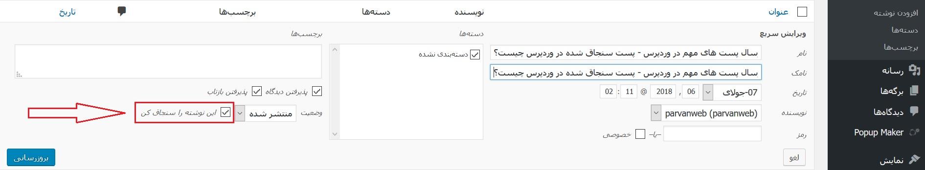 sanjagh - آموزش نحوه ارسال پست های مهم در وردپرس - پست سنجاق شده در وردپرس چیست؟