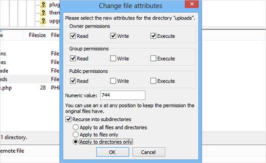 directoriesfilepermissions - 11 دلیل عمده هک سایت های وردپرس | راه های جلوگیری از هک سایت وردپرس