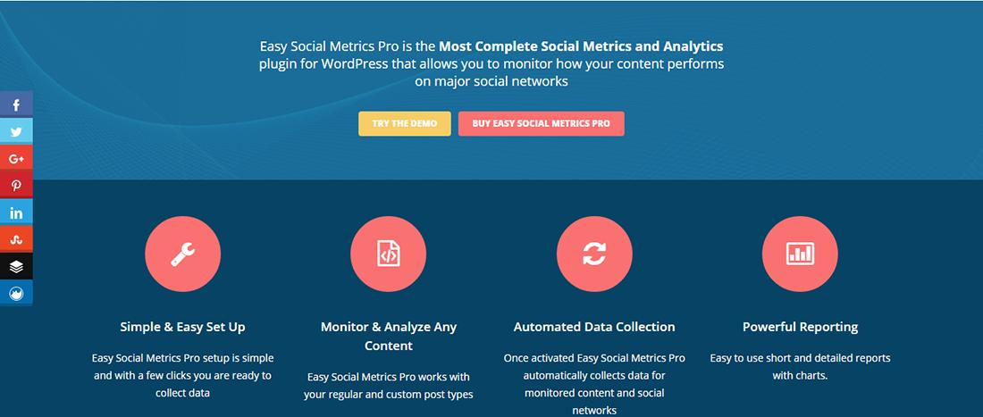 Easy Social Metrics Pro - بهترین افزونه های اشتراک گذاری در شبکه های اجتماعی وردپرس
