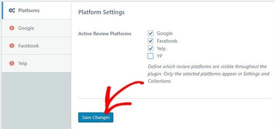selectreviewplatforms - نحوه نمایش نظرات گوگل، فیس بوک و یلپ در وردپرس