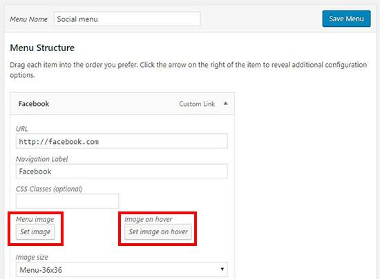 setmenuicon - آموزش اضافه کردن آیکون رسانه های اجتماعی به منوهای وردپرس با افزونه Menu Image