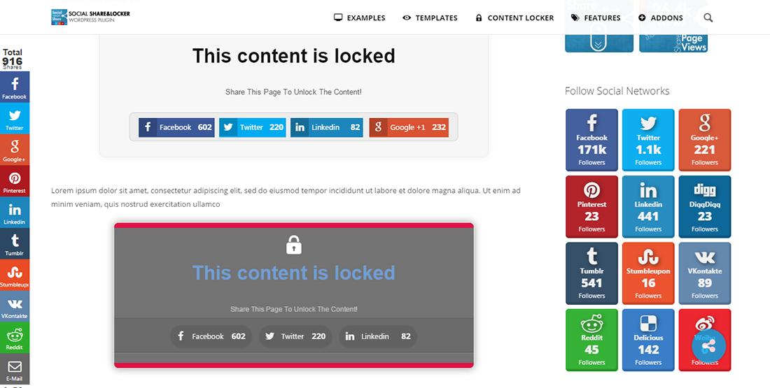 social share and locker pro - بهترین افزونه های اشتراک گذاری در شبکه های اجتماعی وردپرس