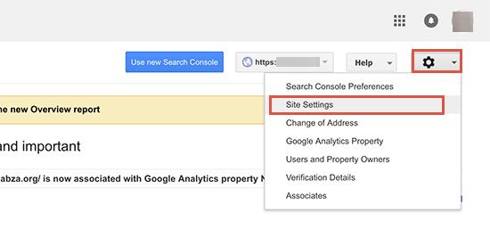 gsc sitesettings - 15 نکته موثر آموزش کنسول جستجوی گوگل | گوگل وبمستر تولز برای افزایش رتبه سایت