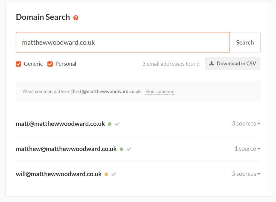 hunter results 897x657 - بهترین ابزار بررسی سئو سایت | کنسول جستجو گوگل و ابزار Google Keyword Planner