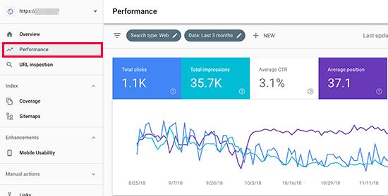 searchconsoleperformance - 15 نکته موثر آموزش کنسول جستجوی گوگل | گوگل وبمستر تولز برای افزایش رتبه سایت