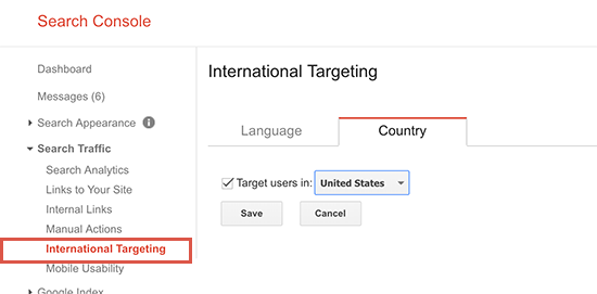 targetcountry - 15 نکته موثر آموزش کنسول جستجوی گوگل | گوگل وبمستر تولز برای افزایش رتبه سایت