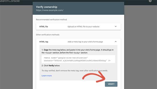 verifyownership - 15 نکته موثر آموزش کنسول جستجوی گوگل | گوگل وبمستر تولز برای افزایش رتبه سایت