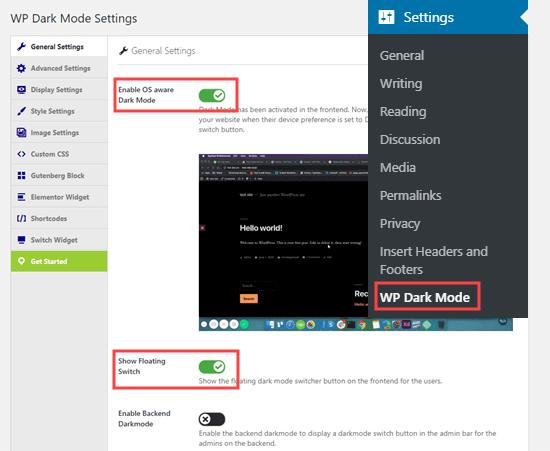 wp dark mode settings general - افزونه حالت شب وردپرس (Dark Mode) برای سایت