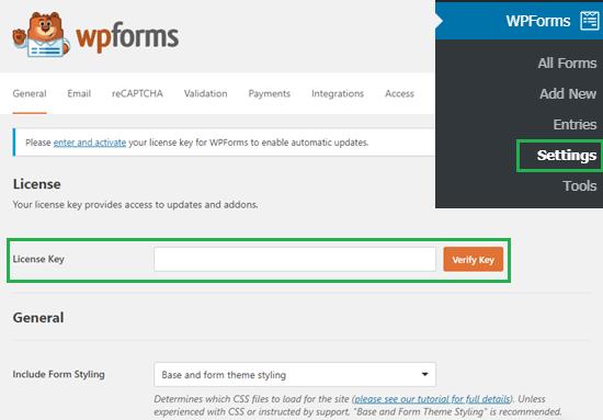 wpforms settings license key - ساخت فرم استخدام در وردپرس با افزونه WpForms + آموزش