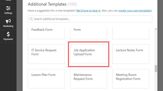 wpforms template job application upload - ساخت فرم استخدام در وردپرس با افزونه WpForms + آموزش