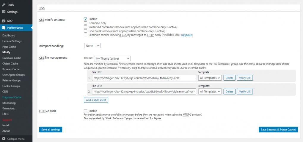 CSS minify setting w3 total cache - رفع خطای Render Blocking JavaScript CSS در Google PageSpeed
