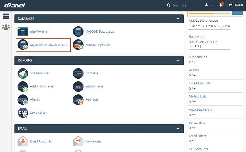 MYSQL Database Wizard - آموزش انتقال وردپرس به دامنه جدید | تغییر دامنه سایت