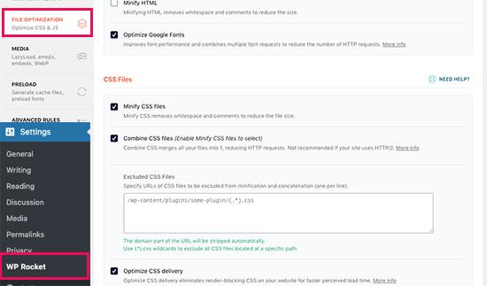 css optimization wprocket - رفع خطای Render Blocking JavaScript CSS در Google PageSpeed