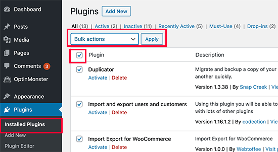 deactivateallplugins - آموزش رفع خطای انتشار ناموفق در وردپرس با 7 راهکار عملی - بروزرسانی ناموفق