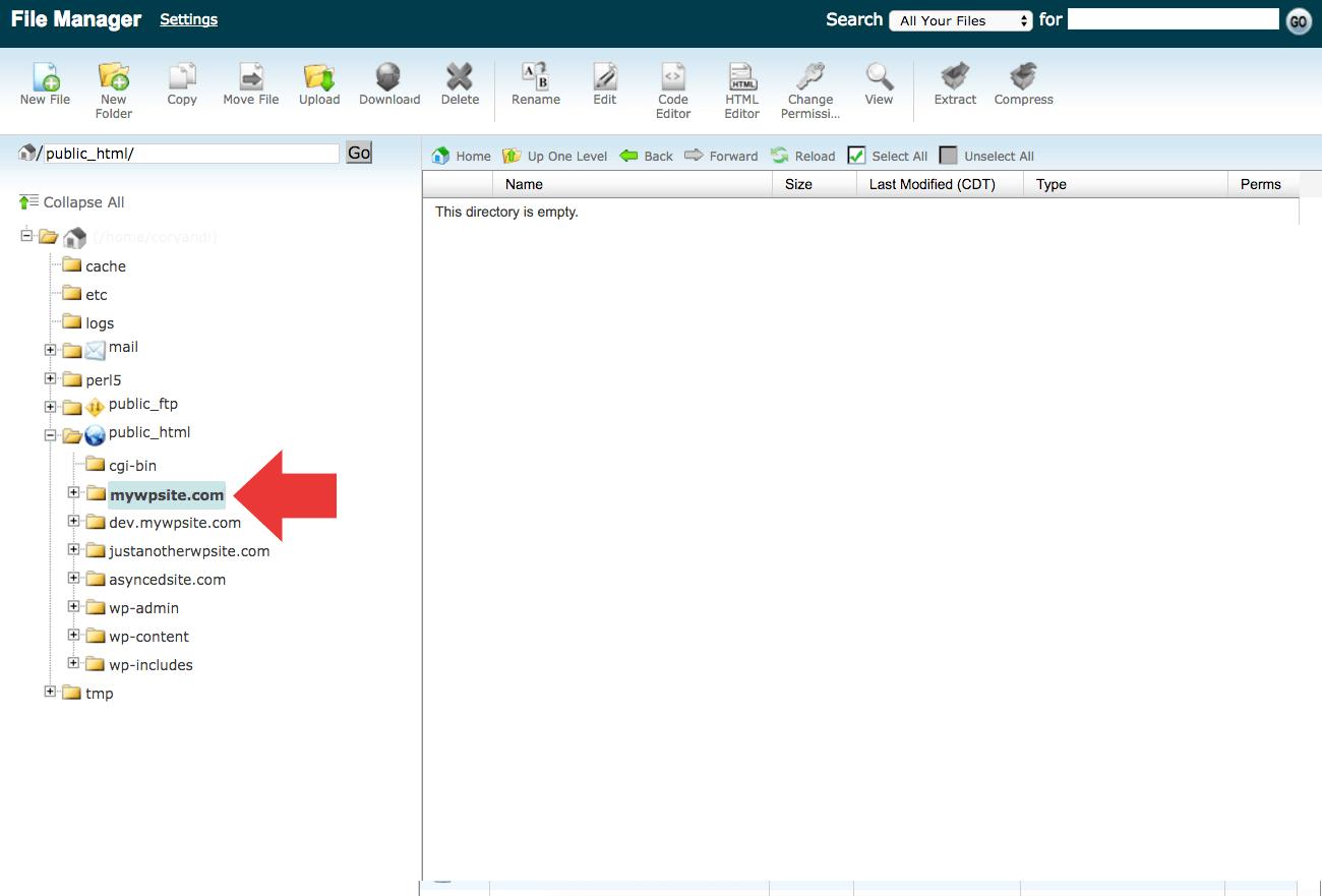 empty wordpress directory - آموزش انتقال وردپرس به دامنه جدید | تغییر دامنه سایت