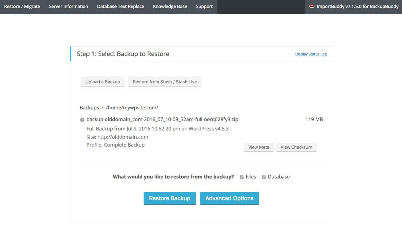 importbuddy step 1 backups - آموزش انتقال وردپرس به دامنه جدید | تغییر دامنه سایت