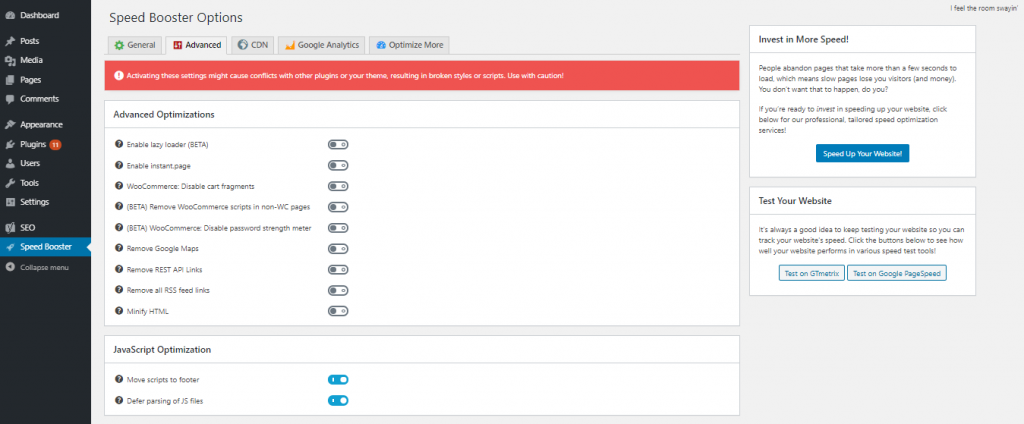 javascript optimization on speed booster options 1024x424 1 - رفع خطای Render Blocking JavaScript CSS در Google PageSpeed