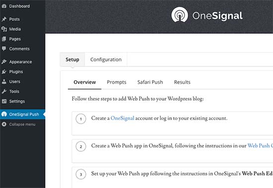 onesignal settings1 - آموزش ساخت پوش نوتیفیکیشن در وردپرس Push Notification