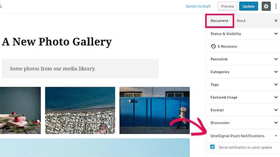 osnotify gutenberg - آموزش ساخت پوش نوتیفیکیشن در وردپرس Push Notification