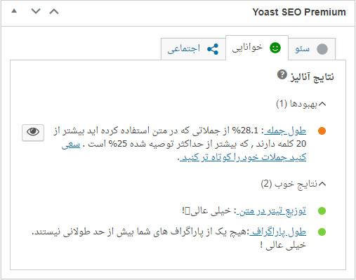 readabilty yoastseo - آموزش تولید محتوای سئو شده جامع و پیشرفته ( سئو مطالب وردپرس )
