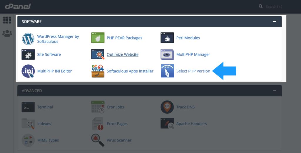 select php version 1024x520 1 - رفع خطا بروزرسانی نسخه php وردپرس | آپدیت ورژن php