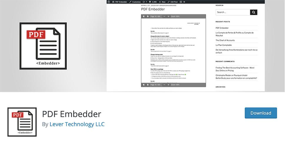 PDF Embedder افزونه PDF Viewer برای وردپرس - بهترین افزونه های PDF Viewer وردپرس | نمایش آنلاین فایل پی دی اف